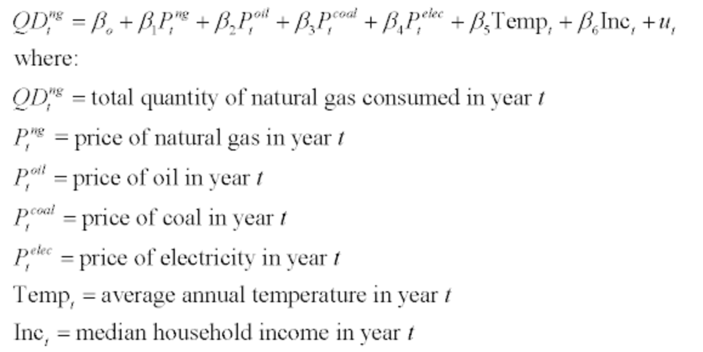 coal where: Dal quantity of natural gas consumed in year t pe price of natural gas in vear t otl P-price of oil in year / Pcoa, = price of cel in vear 1 pprice of electricity in vear Temp, - average annual temperature in year t Inc median household income in vear t