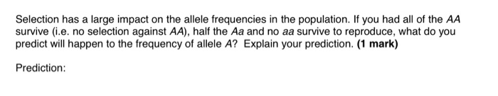 Selection has a large impact on the allele frequencies in the population. If you had all of the AA survive (i.e. no selection against AA), half the Aa and no aa survive to reproduce, what do you predict will happen to the frequency of allele A? Explain your prediction. (1 mark) Prediction: