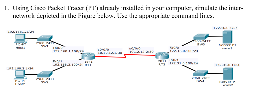 1. Using Cisco Packet Tracer (PT) already installed in your computer, simulate the inter- network depicted in the Figure below. Use the appropriate command lines. 172.16.0.1/24 192.168.1.1/24 60-24TT SW3 2960-24T PC-PT Hosti Server-PT wwwi SW1 Fao/o Fa0/o 172.16.0.100/24 so/o/o so/o/o 10.12.12.1/30 10.12.12.2/30 192.168.1.100/24 Fa0/1 192.168.2.100/24 RT1 2811 Fa 0/1 RT2 172.31.0.100/24 1841 172.31.0.1/24 192.168.2.1/24 2960-24TT SW4 2960-24TT PC-PT Host2 Server-PT www2