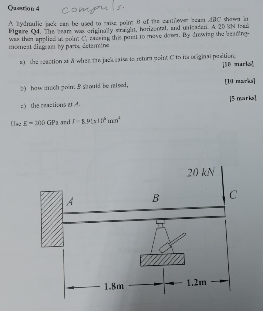 Question 4Co Comps A hydraulic jack can be used to raise point B of the cantilever beam ABC shown in Figure Q4. The beam was originally straight, horizontal, and unloaded. A 20 kN load was then applied at point C, causing this point to move down. By drawing the bending- moment diagram by parts, determine a) the reaction at B when the jack raise to return point C to its original position, [10 marks [10 marks] 15 marks] b) how much point B should be raised, c) the reactions at A. Use E = 200 GPa and 1 = 8.91 x 106 mm 20 kN 1.8m1.2m