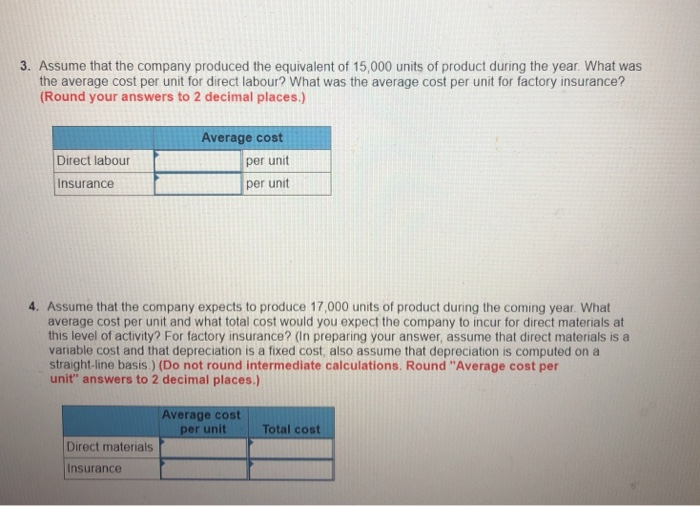 3. Assume that the company produced the equivalent of 15,000 units of product during the year. What was the average cost per unit for direct labour? What was the average cost per unit for factory insurance? Round your answers to 2 decimal places.) Average cost Direct labour per unit per unit Insurance 4. Assume that the company expects to produce 17,000 units of product during the coming year. What average cost per unit and what total cost would you expect the company to incur for direct materials at this level of activity? For factory insurance? (In preparing your answer, assume that direct materials is a variable cost and that depreciation is a fixed cost, also assume that depreciation is computed on a straight-line basis.) (Do not round intermediate calculations. Round Average cost per unit answers to 2 decimal places.) Average cost per unit Total cost Direct materials Insurance