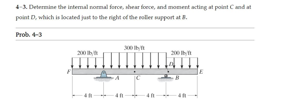 4-3. Determine the internal normal force, shear force, and moment acting at point C and at point D, which is located just to