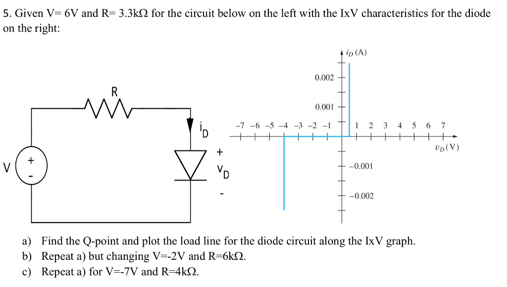 5. Given V 6V and R 3.3k on the right: for the circuit below on the left with the IxV characteristics for the diode ip (A) 0.002 0.001 7-6-5-4-3-2-1 2 3 4 5 6 7 UD (V) 0.001 -0.002 a) Find the Q-point and plot the load line for the diode circuit along the IxV graph. b) Repeat a) but changing V--2V and R-6k2 c) Repeat a) for V--7V and R-4ks