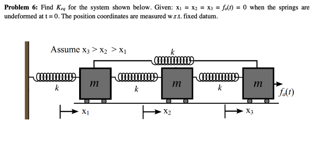 Problem 6: Find Keq for the system shown below. Given: x: x: x3-a() = 0 when the springs are undeformed at t = 0 . The position coordinates are measured wr.t. fixed datum. Assume X3>X2 > X CILIUIUIUL LLU LULLILILLL in In f(t) X1