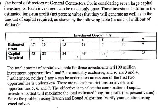 The board of directors of General Contractors Co. is considering seven large capital investments. Each investment can be made