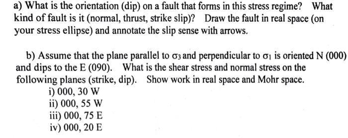 a) What is the orientation (dip) on a fault that forms in this stress regime? What kind of fault is it (normal, thrust, strik