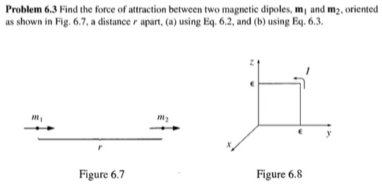 Problem 6.3 Find the force of attraction between two magnetic dipoles, mi and m2, oriented as shown in Fig. 6.7, a distance r