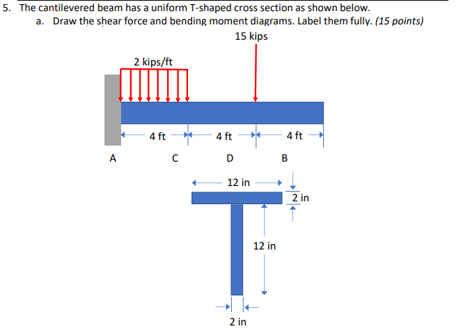 5. The cantilevered beam has a uniform T-shaped cross section as shown below. a. Draw the shear force and bending moment diagrams. Label them fully. (15 points) 15 kips 2 kips/ft 4 ft 12 in 2 in 12 in 2 in