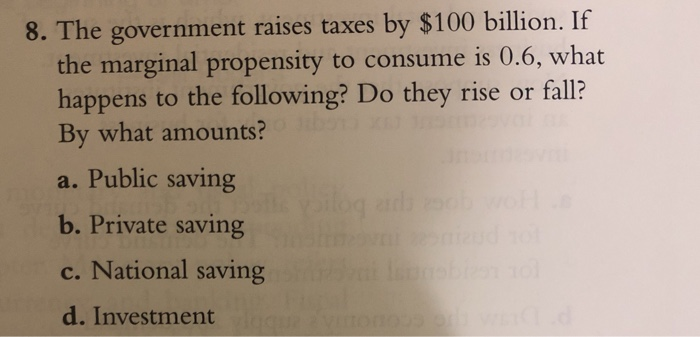 8. The government raises taxes by $100 billion. If the marginal propensity to consume is 0.6, what happens to the following? Do they rise or fall? By what amounts? a. Public saving b. Private saving c. National saving d. Investment