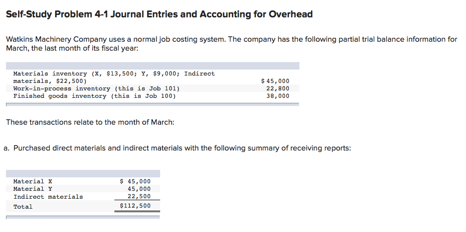Self-Study Problem 4-1 Journal Entries and Accounting for Overhead Watkins Machinery Company uses a normal job costing system. The company has the following partial trial balance information for March, the last month of its fiscal year: Materials inventory (X, 13,500 Y, $9,000; Indirect materials, $22,500) Work-in-process inventory (this is Job 101) Finished goods inventory (this is Job 100) $45,000 22,800 38,000 These transactions relate to the month of March: a. Purchased direct materials and indirect materials with the following summary of receiving reports: Material x Material Y Indirect materials Total 45,000 45,000 $112,500