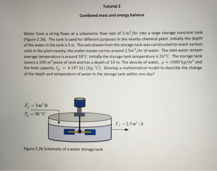 Tutorial 2 Combined mass and energy balance Water from a string flows at a volumetric flow rate of 3 m3/hr into a large stora