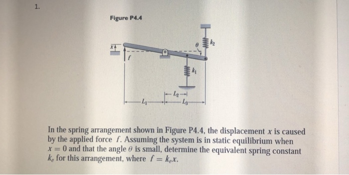 1. Figure P4.4 In the spring arrangement shown in Figure P4.4, the displacement x is caused by the applied force f. Assuming the system is in static equilibrium when x = 0 and that the angle θ is small, determine the equivalent spring constant ke for this arrangement, where f kex.