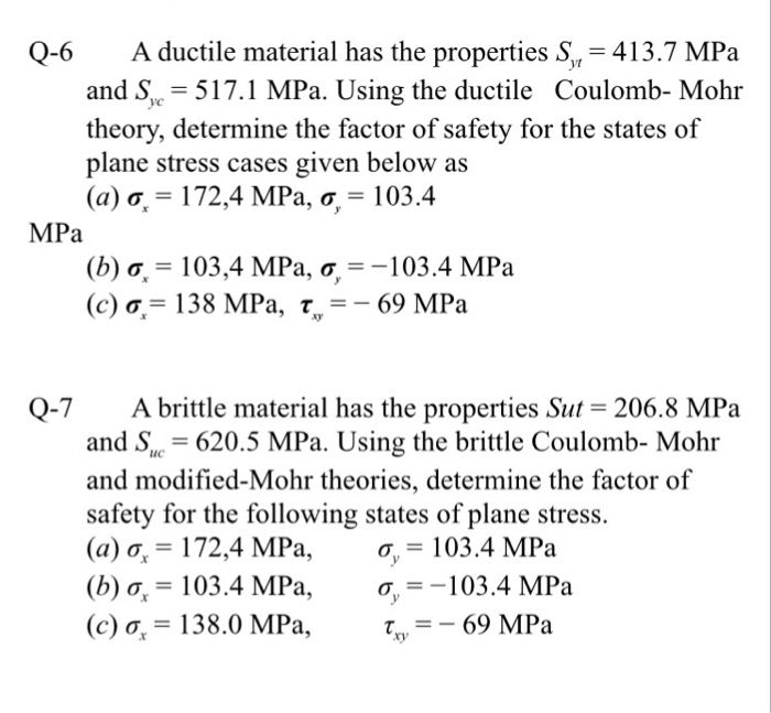 Q-6 A ductile material has the properties S, 413.7 MPa and S -517.1 MPa. Using the ductile Coulomb- Mohr theory, determine the factor of safety for the states of plane stress cases given below as (a)or 172,4 MPa, σ.-103.4 MPa (b)or 103,4 MPa ơ, -103.4 MPa (c) σ.-138 MPa, t,--69 MPa Q-7 A brittle material has the properties Sut and S 620.5 MPa. Using the brittle Coulomb- Mohr and modified-Mohr theories, determine the factor of safety for the following states of plane stress. (a) o, 172,4 MPa,, 103.4 MPa (b) o, 103.4 MPa,o103.4 MPa (c) ơ.-138.0 MPa, xy-_ 69 MPa 206.8 MPa