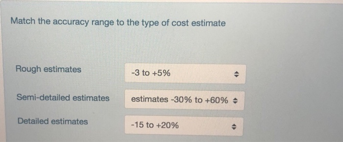 Match the accuracy range to the type of cost estimate Rough estimates -3 to +5% semi-detailed estimates estimates-3096 to +6096 $ Detailed estimates -15 to +20%