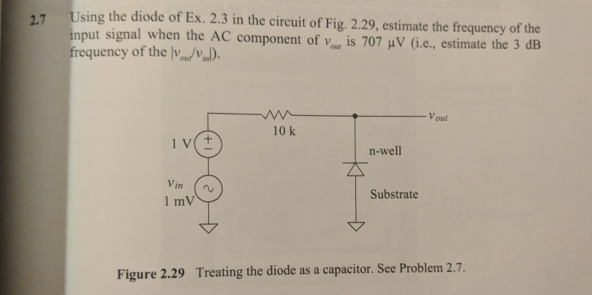 sing the diode of Ex. 2.3 in the circuit of Fig. 2.29, estimate the frequency of the mput signal when requency of the on. the AC component of vit is 707 V (i.e., estimate the 3 dB V out 10 k n-well Vin l mV Substrate Figure 2.29 Treating the diode as a capacitor. See Problem 2.7