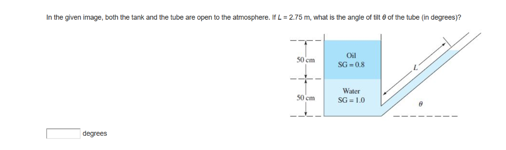In the given image, both the tank and the tube are open to the atmosphere. If L-2.75 m, what is the angle of tilt θ of the tube (in degrees)? Oil 50 cm SG 0.8 L. Water 50cm | SG=1.0 degrees