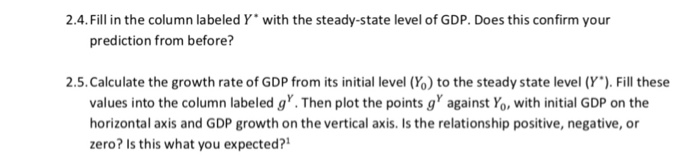 2.4.Fill in the column labeled Y with the steady-state level of GDP. Does this confirm your prediction from before? 2.5, Calculate the growth rate of GDP from its initial level (%) to the steady state level (Y.). Fill these values into the column labeled g. Then plot the points gagainst Yo, with initial GDP on the horizontal axis and GDP growth on the vertical axis. Is the relationship positive, negative, or zero? Is this what you expected?