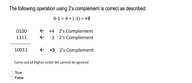 The following operation using 2s complement is correct as described: 4-1 4 (-1) +3 0100 F +4 2s Complement 1111 F -1 2s Complement 10011 F +3 2s Complement Carry-out of higher order bit cannot be ignored O True False