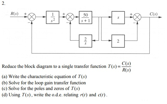 2. 50 s+1 C(s) C(s) R(s) Reduce the block diagram to a single transfer function T(s) (a) Write the characteristic equation of T(s) (b) Solve for the loop gain transfer function (c) Solve for the poles and zeros of T(s) (d) Using T(s), write the o.d.e. relating r(t) and c(t)