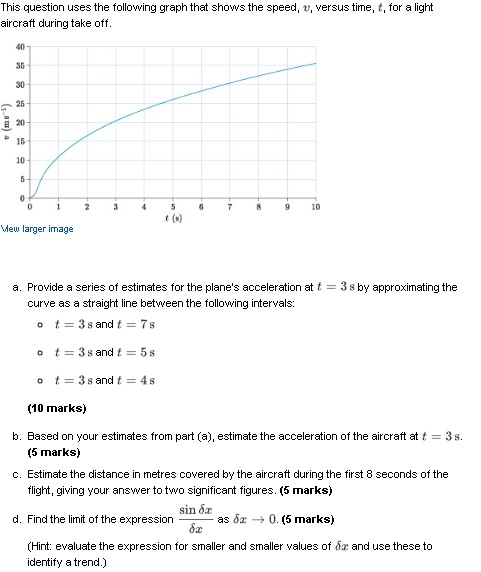 This question uses the following graph that shows the speed, v, versus time, t, for a light aircraft during take off. 40 35 30 25 E 20 P 15 10- t (s) Mew larger image a. Provide a series of estimates for the planes acceleration at t 3 s by approximating the curve as a straight line between the following intervals: o t 3 s and t7 s (10 marks) b. Based on your estimates from part (a), estimate the acceleration of the aircraft at t 3s. (5 marks) c. Estimate the distance in metres covered by the aircraft during the first 8 seconds of the flight, giving your answer to two significant figures. (5 marks) sin 8x d. Find the limit of the expression-, -as δ# O. (5 marks) expression forsma er and smaller values ofdzand use these to identify a trend.)