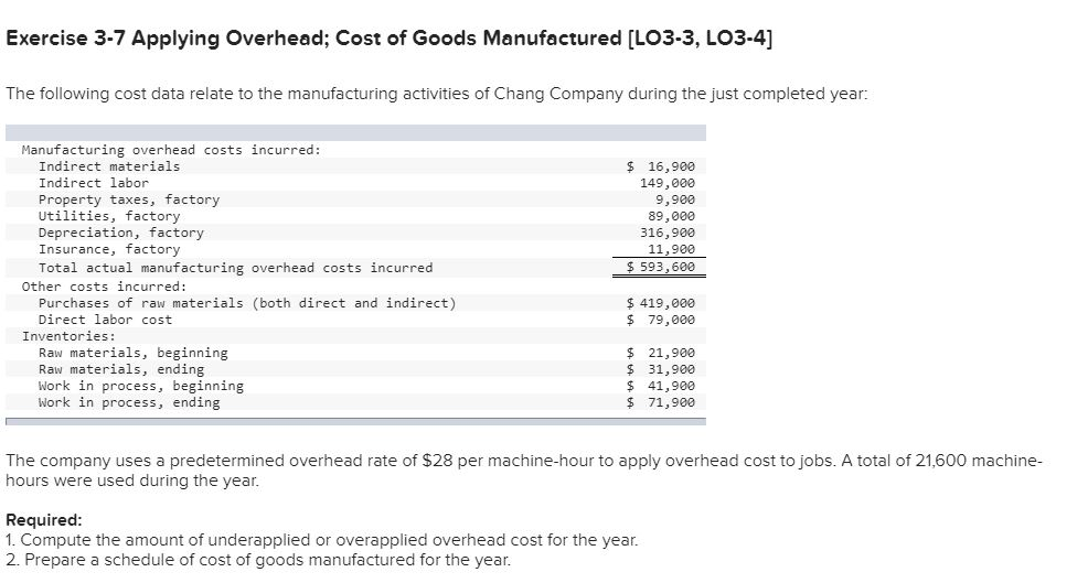 Exercise 3-7 Applying Overhead; Cost of Goods Manufactured [LO3-3, LO3-4] The following cost data relate to the manufacturing