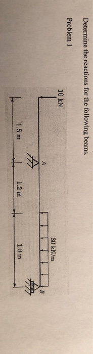 Determine the reactions for the following beams. Problem 1 10 kN 30 kN/m 1.5 m 1.2 m 1.8 m