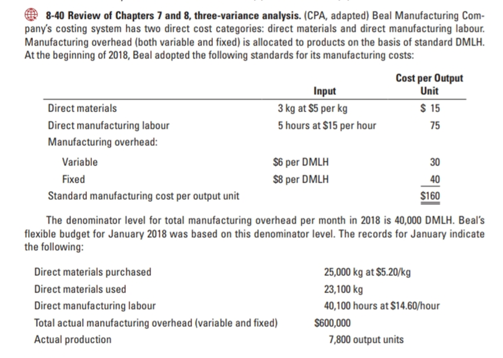 8-40 Review of Chapters 7 and 8, three-variance analysis. (CPA, adapted) Beal Manufacturing Com- panys costing system has two direct cost categories: direct materials and direct manufacturing labour Manufacturing overhead (both variable and fixed) is allocated to products on the basis of standard DMLH. At the beginning of 2018, Beal adopted the following standards for its manufacturing costs: Cost per Output Unit Input Direct materials Direct manufacturing labour Manufacturing overhead: 3 kg at $5 per kg 5 hours at $15 per hour 75 Variable S6 per DMLH $8 per DMLH 30 40 $160 Fixed Standard manufacturing cost per output unit The denominator level for total manufacturing overhead per month in 2018 is 40,000 DMLH. Beals flexible budget for January 2018 was based on this denominator level. The records for January indicate the following: Direct materials purchased Direct materials used Direct manufacturing labour Total actual manufacturing overhead (variable and fixed) Actual production 25,000 kg at $5.20/kg 23,100 kg 40,100 hours at $14.60/hour S600,000 7,800 output units