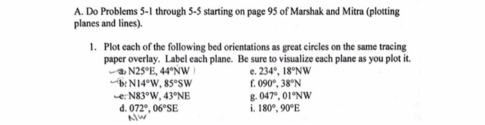 A. Do Problems 5-1 through 5-5 starting on page 95 of Marshak and Mitra (plotting planes and lines). 1. Plot each of the following bed orientations as great circles on the same tracing paper overlay. Label each plane. Be sure to visualize each plane as you plot it N25°E, 44 NW b: N14°W, 85 SW -e N83°W, 43°NE d. 0720, 06 SE e. 2340, 18°NW f 090, 38N 8. 0470, 01°NW i. 180°, 90°E