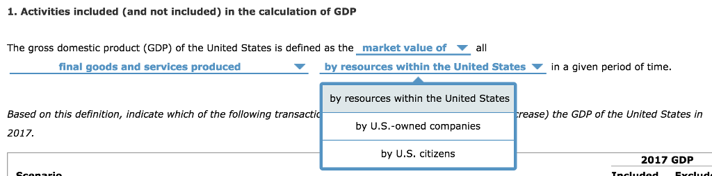 1. Activities included (and not included) in the calculation of GDP The gross domestic product (GDP) of the United States is defined as the market value of ▼ all final goods and services produced ▼ by resources within the United States ▼ in a given period of time. by resources within the United States by U.S.-owned companies by U.S. citizens rease) the GDP of the United States in Based on this definition, indicate which of the following transactio 2017. 2017 GDP