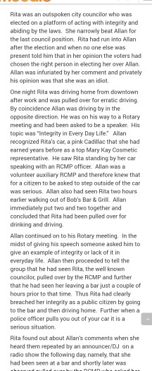 Rita was an outspoken city councilor who was elected on a platfom of acting with integrity and abiding by the laws. She narrowly beat Allan for the last council position. Rita had run into Allan after the election and when no one else was present told him that in her opinion the voters had chosen the right person in electing her over Allan. Allan was infuriated by her comment and privately his apinion was that she was an idiot One night Rita was driving home from downtown after work and was pulled over for erratic driving. By coincidence Allan was driving by in the opposite direction. He was on his way to a Rotary meeting and had been asked to be a speaker. His topic was Integrity in Every Day Life Alan recognized Ritas car, a pink Cadillac that she had earned years before as a top Mary Kay Cosmetic representative. He saw Rita standing by her car speaking with an RCMP officer. Allan was a volunteer auxiliary RCMP and therefore knew that for a citizen to be asked to step outside of the car was serious. Allan also had seen Rita two hours earlier walking out of Bobs Bar& Grill. Allan immediately put two and two together and concluded that Rita had been pulled over for drinking and driving Allan continued on to his Ratary meeting. In the midst of giving his speech someone asked him to give an example of integrity or lack of it in everyday life. Allan then proceeded to tell the group that he had seen Rita, the well known councilor, pulled over by the RCMP and further that he had seen her leaving a bar just a couple of hours prior to that time. Thus Rita had clearly breached her integrity as a public citizen by going to the bar and then driving home. Further when a police officer pulls you out of your car it is a Rita found out about Allans comments when she heard them repeated by an announcer/DJ on a radio show the following day, namely, that she had been seen at a bar and shortly later was
