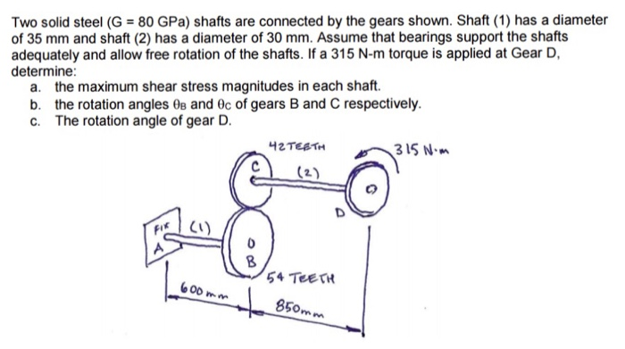 Two solid steel (G 80 GPa) shafts are connected by the gears shown. Shaft (1) has a diameter of 35 mm and shaft (2) has a diameter of 30 mm. Assume that bearings support the shafts adequately and allow free rotation of the shafts. If a 315 N-m torque is applied at Gear D determine: a. b. c. the maximum shear stress magnitudes in each shaft. the rotation angles 0e and θε of gears B and C respectively. The rotation angle of gear D. 42TEATH 315 N Lte 54 TeerH 600 mm 850mm