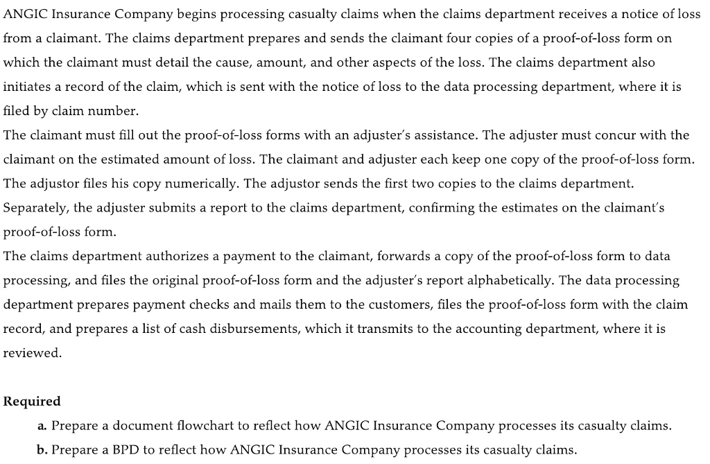 ANGIC Insurance Company begins processing casualty claims when the claims department receives a notice of loss from a claimant. The claims department prepares and sends the claimant four copies of a proof-of-loss form on which the claimant must detail the cause, amount, and other aspects of the loss. The claims department also initiates a record of the claim, which is sent with the notice of loss to the data processing department, where it filed by claim number. The claimant must fill out the proof-of-loss forms with an adjusters assistance. The adjuster must concur with the claimant on the estimated amount of loss. The claimant and adjuster each keep one copy of the proof-of-loss form The adjustor files his copy numerically. The adjustor sends the first two copies to the claims department. Separately, the adjuster submits a report to the claims department, confirming the estimates on the claimants pro of-of-loss form The claims department authorizes a payment to the claimant, forwards a copy of the proof-of-loss form to data processing, and files the original proof-of-loss form and the adjusters report alphabetically. The data processing nt prepares payment checks and mails them to the customers, files the proof-of-loss form with the claim record, and prepares a list of cash disbursements, which it transmits to the accounting department, where it is reviewed Required a. Prepare a document flowchart to reflect how ANGIC Insurance Company processes its casualty claims. b. Prepare a BPD to reflect how ANGIC Insurance Company processes its casualty claims