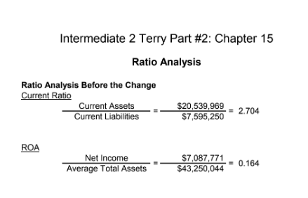 Intermediate 2 Terry Part #2: Chapter 15 Ratio Analysis Ratio Analysis Before the Change Current Ratio Current Assets $20,539.969- 2.704 Current Liabilities $7,595,250 ROA Net Income Average Total Assets $43,250,0440.164