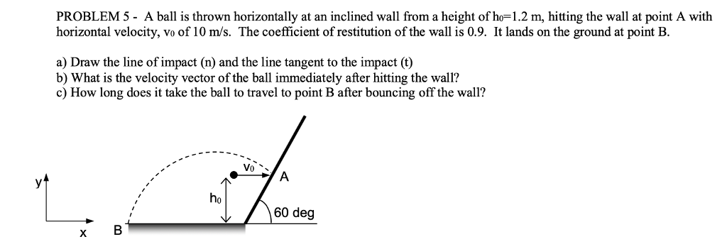PROBLEM 5-A ball is thrown horizontally at an inclined wall from a height of ho=1.2 m, hitting the wall at point A with horizontal velocity, vo of 10 m/s. The coefficient of restitution of the wall is 0.9. It lands on the ground at point B. a) Draw the line of impact (n) and the line tangent to the impact (t) b) What is the velocity vector of the ball immediately after hitting the wall? c) How long does it take the ball to travel to point B after bouncing off the wall? Vo ho 60 deg