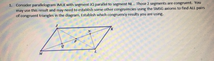 Consider parallelogram JMLK with segment JQ parallel to segment NL. Those 2 segments are congruent. You may use this result a