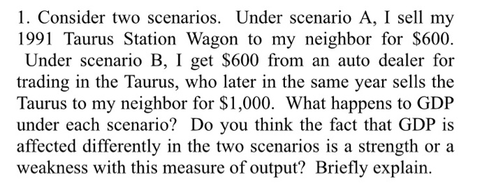 1. Consider two scenarios. Under scenario A, I sell my 1991 Taurus Station Wagon to my neighbor for $600 Under scenario B, I get $600 from an auto dealer for trading in the Taurus, who later in the same year sells the Taurus to my neighbor for $1,000. What happens to GDP under each scenario? Do you think the fact that GDP is affected differently in the two scenarios is a strength or a weakness with this measure of output? Briefly explain.