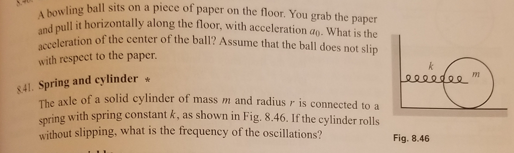 ball sits on a piece of paper on the floor. You grab the paper t horizontally along the floor, with acceleration ao. What is