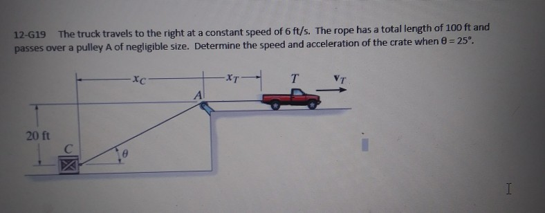 12-G19 The truck travels to the right at a constant speed of 6 ft/s. The rope has a total length of 100 ft and passes over a pulley A of negligible size. Determin e the speed and acceleration of the crate when θ = 25°. xc XT VT Al 20 ft