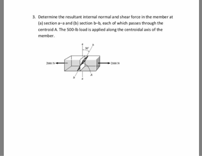 Determine the resultant internal normal and shear force in the member at (a) section a-a and (b) section b-b, each of which passes through the centroid A. The 500-lb load is applied along the centroidal axis of the member. 3. or 2000