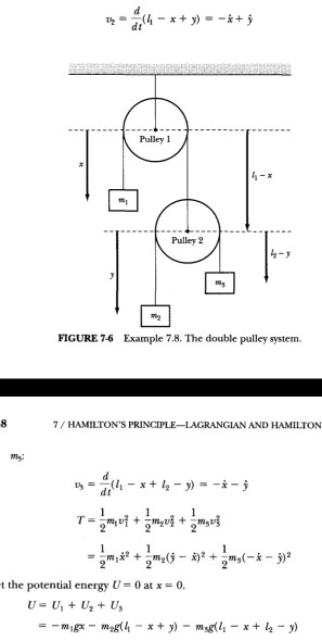 Pulley 1 Pulley 2 8-2 FIGURE 7-6 Example 7.8、The double pulley system. /HAMILTONS PRINCIPLE-LAGRANGIAN AND HAMILTON t the po