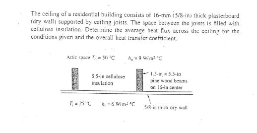 The ceiling of a residential building consists of 16-mm i5/8 in) thick plasterboard (dry wall) supported by ceiling joists. The space between the joists is filled with cellulose insulation. Determine the average heat flux across the ceiling for the conditions given and the overall heat transfer coefficient. Attic space T,,-50℃ h。_gW/m2 C 5.5-in cellulose insulation 1.5-inx5.5-in pine wood beams on 16-in center r 25 C6Wmn thick dry wall