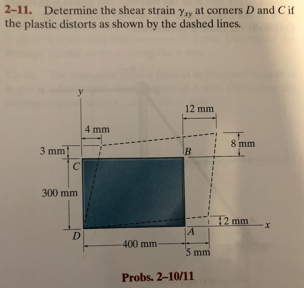 2-11. Determine the shear strain Yxy at corners D and Cif the plastic distorts as shown by the dashed lines. 12 mm 4 mm 13mm 3 mm 300 mm 2 mm x 400 mm 5 mm Probs. 2-10/11