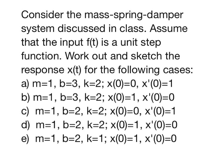 Consider the mass-spring-damper system discussed in class. Assume that the input f(t) is a unit step function. Work out and sketch the response x(t) for the following cases: a) m-1, b-3, k-2; x(0)0, x(0)-1 b) m-1, b-3, k-2; x(0)-1, x(0)0 c) m 1, b-2, k-2; x(0)-0, x(0)-1 d) m-1, b-2, k-2; x(0)-1, x(0)-0 e) m 1, b-2, k-1; x(0)-1, x(0)-0