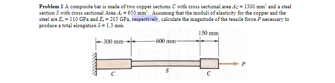 Problem 1 A composite bar is made of two copper sections Cwith cross sectional area Ac 1300 mm2 and a steel section S with cross sectional Area A,-650 mm Assuming that the moduli of elasticity for the copper and the steel are E-110 GPa and E, 205 GPa, respectively, calculate the magnitude of the tensile force P necessary to produce a total elongation δ = 1.3 mm. 150 mm 300 mm 600 mm