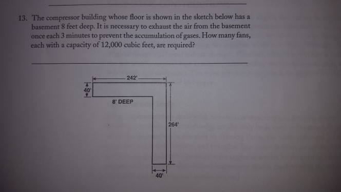 13. The compressor building whose floor is shown in the sketch below hasa basement 8 feet deep. It is necessary to exhaust th