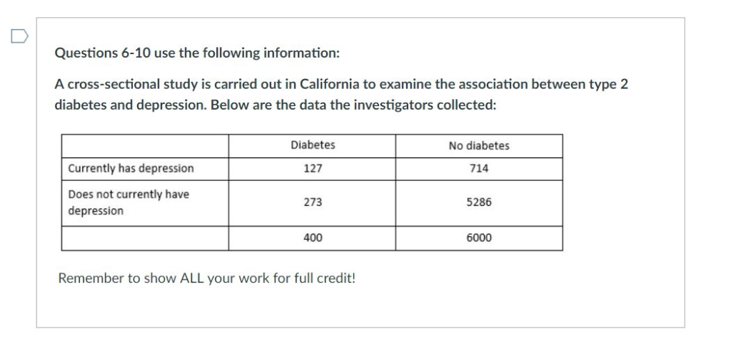 Questions 6-10 use the following information A cross-sectional study is carried out in California to examine the association