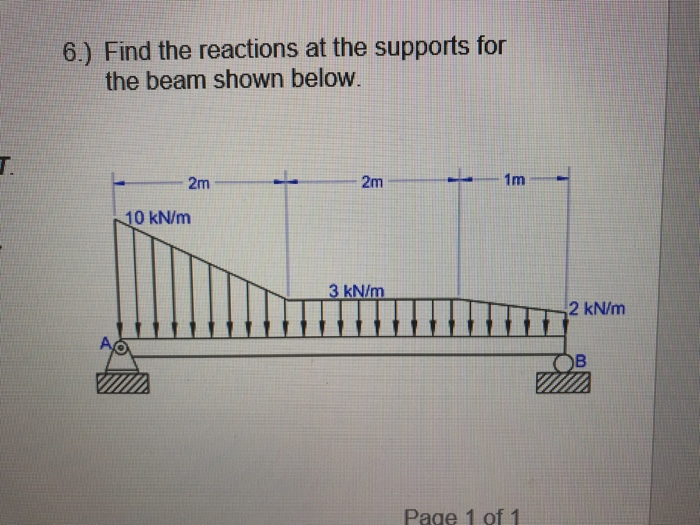 6.) Find the reactions at the supports for the beam shown below 0 kN/m 2 kN/m Page 1 of 1
