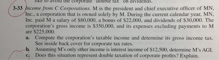 IRe to avold tne corporate double tax on dividends. 3-33 Income from C Corporations. M is the president and chief executive officer of MN, Inc., a corporation that is owned solely by M. During the current calendar year, MN, Inc. paid M a salary of $80,000, a bonus of $22,000, and dividends of $30,000. The corporations gross income is $350,000, and its expenses excluding payments to M are $225,000. a. Compute the corporations taxable income and determine its gross income tax. See inside back cover for corporate tax rates. Assuming Ms only other income is interest income of $12,500, determine Ms AGI. Does this situation represent double taxation of corporate profits? Explain b. c.