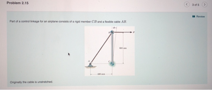 Problem 2.15 3 of 5> l Review Part of a control linkage for an airplane consists of a rigid member CB and a flexible cable AB Originally the cable is unstretched