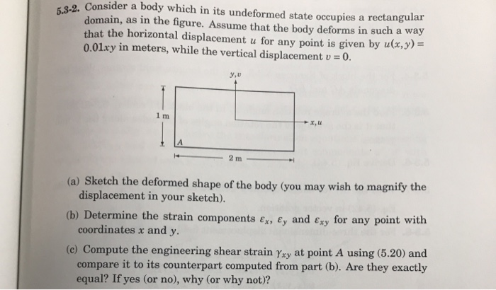 2. Consider a body which in its undeformed state occupies a rectangular domain, as in the figure. Assume that the body deform